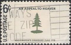 Blue and green 6-cent U.S. postage stamp picturing Washington's Cruisers flag