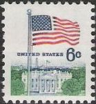 6-cent U.S. postage stamp picturing American flag and White House