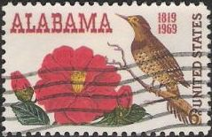 6-cent U.S. postage stamp picturing red flower and brown bird