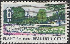 6-cent U.S. postage stamp picturing flowers and U.S. Capitol