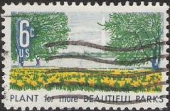 6-cent U.S. postage stamp picturing flowers and Washington Monument