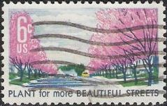 6-cent U.S. postage stamp picturing tree-lined street
