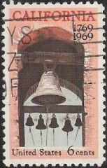 6-cent U.S. postage stamp picturing church bells