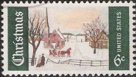 6-cent U.S. postage stamp picturing winter scene