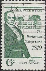 Green 6-cent U.S. postage stamp picturing Daniel Webster