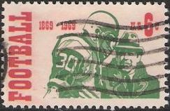 6-cent U.S. postage stamp picturing football player and coach