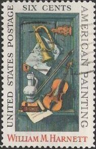 6-cent u.S. postage stamp picturing William Harnett painting
