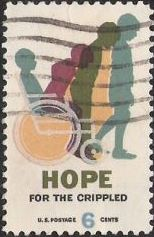 6-cent U.S. postage stamp picturing wheelchair and children's silhouettes