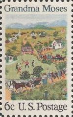 6-cent U.S. postage stamp picturing Grandma Moses painting