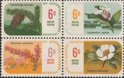 Block of four 6-cent U.S. postage stamps picturing plants