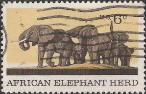 6-cent U.S. postage stamp picturing elephants