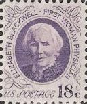 Purple 18-cent U.S. postage stamp picturing Elizabeth Blackwell