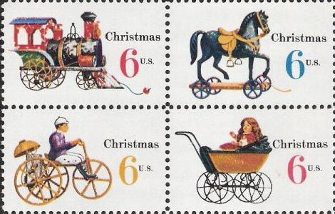 Block of four 6-cent U.S. postage stamps picturing toys