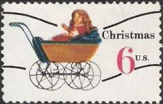 6-cent U.S. postage stamp picturing doll in carriage