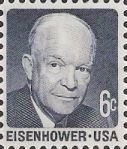 Blue 6-cent U.S. postage stamp picturing Dwight Eisenhower