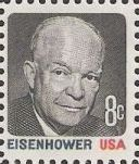 Black and red 8-cent U.S. postage stamp picturing Dwight Eisenhower