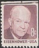 Claret 8-cent U.S. postage stamp picturing Dwight Eisenhower