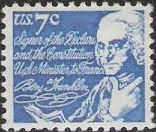 Blue 7-cent U.S. postage stamp picturing Benjamin Franklin
