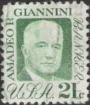 Green 21-cent U.S. postage stamp picturing Amadeo Giannini