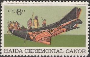 6-cent u.S. postage stamp picturing Native Americans in canoe