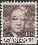 Brown 14-cent U.S. postage stamp picturing Fiorello LaGuardia