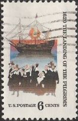 6-cent U.S. postage stamp picturing Pilgrims and The Mayflower