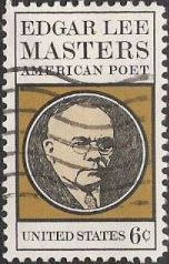 Black and tan 6-cent U.S. postage stamp picturing Edgar Lee Masters