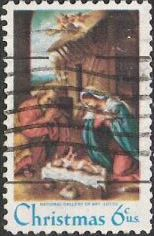 6-cent U.S. postage stamp picturing Lotto's 'Nativity' painting