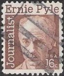 Brown 16-cent U.S. postage stamp picturing Ernie Pyle
