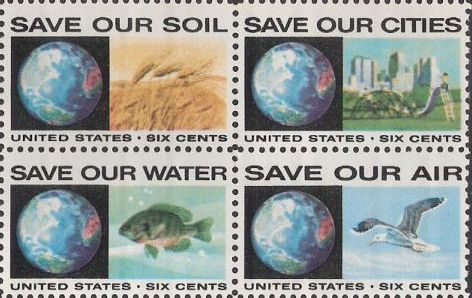 Block of four 6-cent U.S. postage stamps picturing Earth