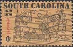 6-cent U.S. postage stamp picturing South Carolina landmarks