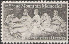 Gray 6-cent U.S. postage stamp picturing Stone Mountain Memorial