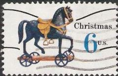 6-cent U.S. postage stamp picturing toy horse on wheels