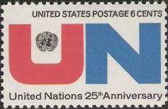 6-cent U.S. postage stamp picturing United Nations logo and letters 'UN'