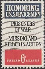 6-cent US. postage stamp with text 'Honoring U.S. Servicemen,' 'Prisoners of War,' and 'Missing and Killed in Action'