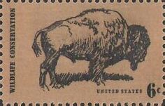Black and brown 6-cent U.S. postage stamp picturing bison