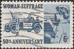 Blue 6-cent U.S. postage stamp picturing women voters