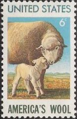 6-cent U.S. postage stamp picturing sheep