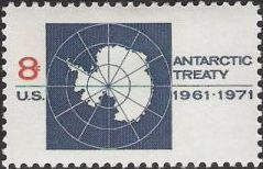 Blue and red 8-cent U.S. postage stamp picturing map of Antarctica