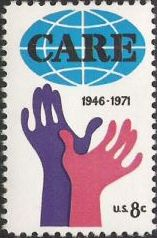 8-cent U.S. postage stamp picturing CARE logo and hands