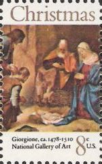 8-cent U.S. postage stamp picturing Giorgione's 'Nativity' painting
