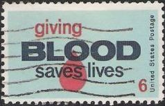 6-cent U.S. postage stamp picturing blood drop