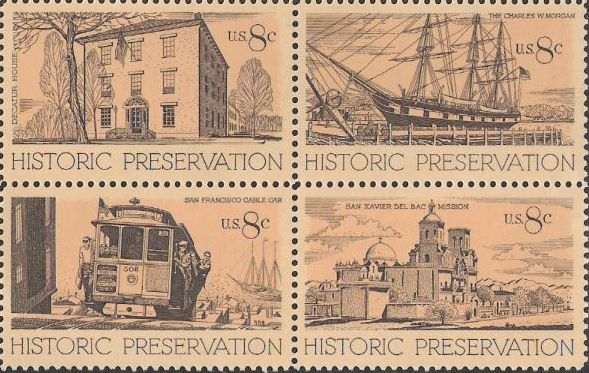 Block of four 8-cent U.S. postage stamps picturing Decatur House, the Charles W. Morgan, San Francisco cable car, and San Xavier del Bac Mission