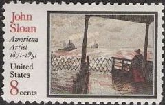 8-cent U.S. postage stamp picturing John Sloan painting