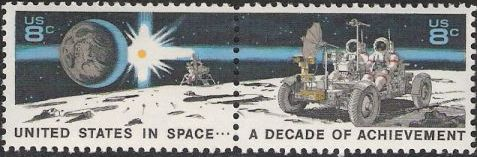 Pair of 8-cent U.S. postage stamps picturing astronauts on moon