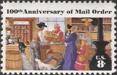 8-cent U.S. postage stamp picturing clerk handing package to family