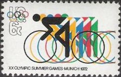 6-cent U.S. postage stamp picturing cyclists