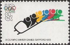 8-cent U.S. postage stamp picturing bobsled