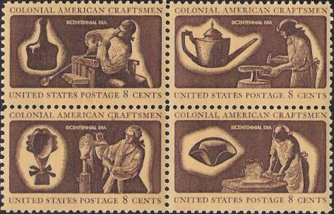 Block of four brown and yellow 8-cent U.S. postage stamps picturing colonial craftsmen