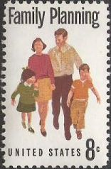 8-cent U.S. postage stamp picturing family